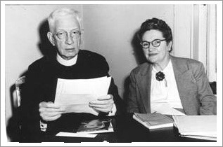 1948 - Monsignor Edward Klosterman, Director and Mary Moser, first agency social worker